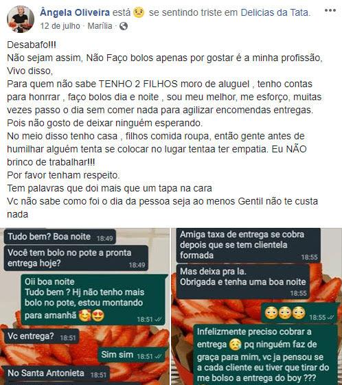 post facebook confeiteira humilha cliente reclamou taxa entrega bolo